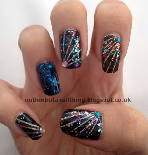 Firework nail art design #nails