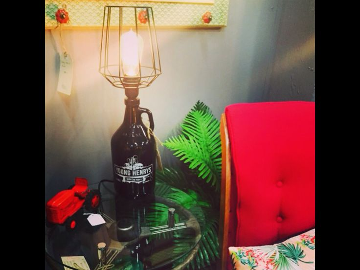 Table lamp.  Upcycled Young Henry's Beer Jug industrial lamp.