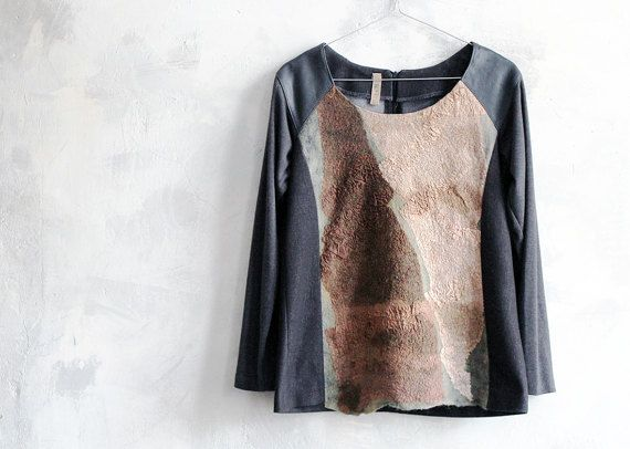 Сombo Sweater Brown and Gray Nuno Felt Blouse by ZoeBoFashion