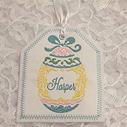 Easter Basket Personalized Embroidered Gift Tag, Easter Basket Gift Tag, Embroidered Gift Tag, Easter Egg Embroidered Gift Tag