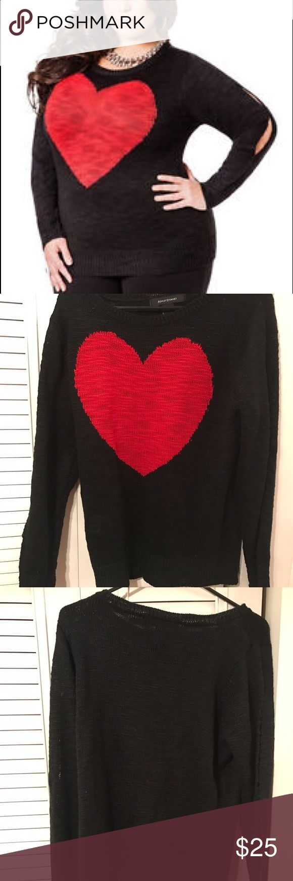 Ashley Stewart heart cold shoulder sweater Heart detail cold shoulder sweater. Perfect for V-Day! Size 12 in Ashley Stewart is equivalent to a XL/1X. Ashley Stewart Sweaters
