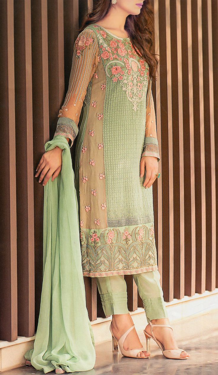 Buy Green/Light Brown Embroidered Chiffon Dress by Baroque 2015.