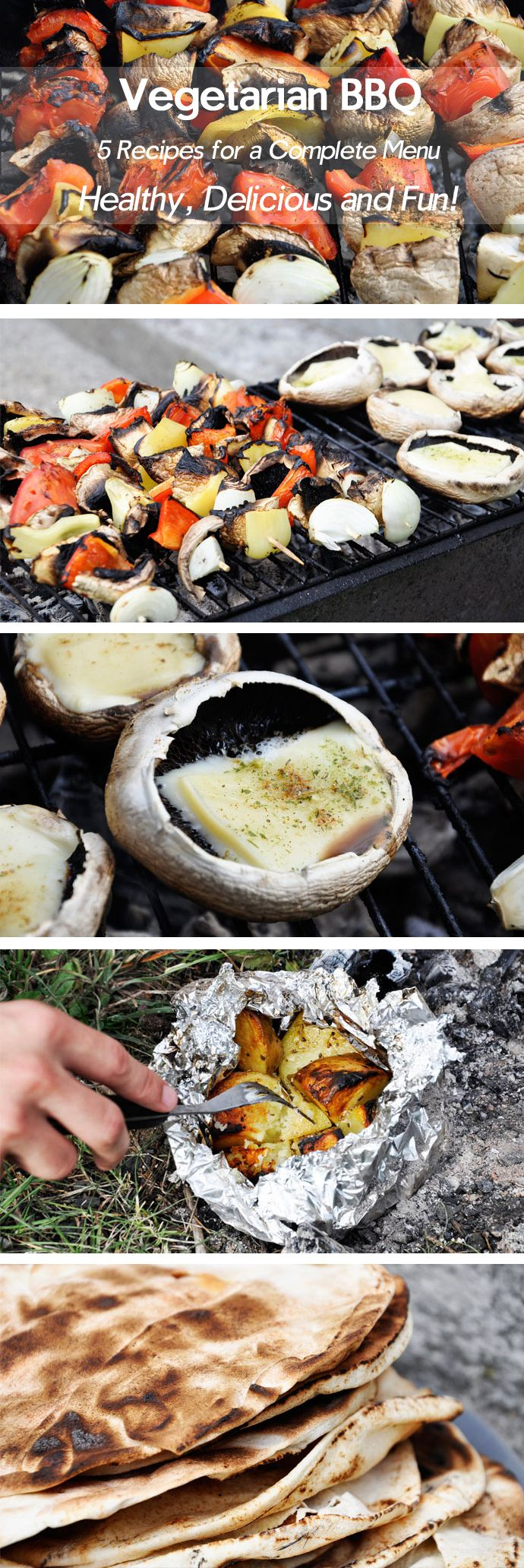 Here are some great vegetarian BBQ recipes: veggie skewers, grilled mushrooms, potatoes cooked in ember and crispy pita bread.   gourmandelle.com   #barbeque