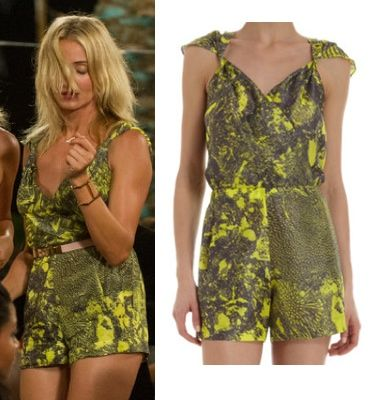 The Other Woman Movie: Carly's (Cameron Diaz) yellow and black print romper/jumpsuit by Zero + Maria Cornejo