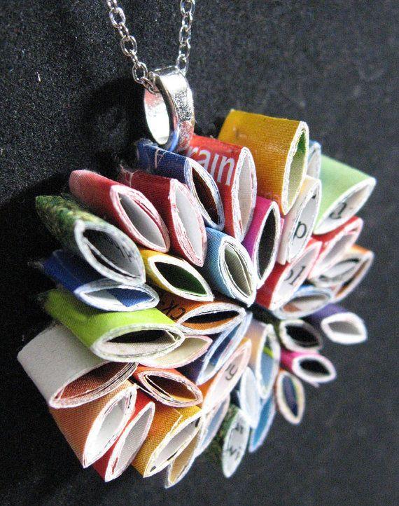 recycled magazine pendant: Pendant Necklace, Crafts Ideas, Magazines Recycled Jewelry, Pendants Necklaces, Recycled Magazines Crafts, Recycled Paper Crafts, Colorstori Design, Jewelry Ideas, Cute Necklace