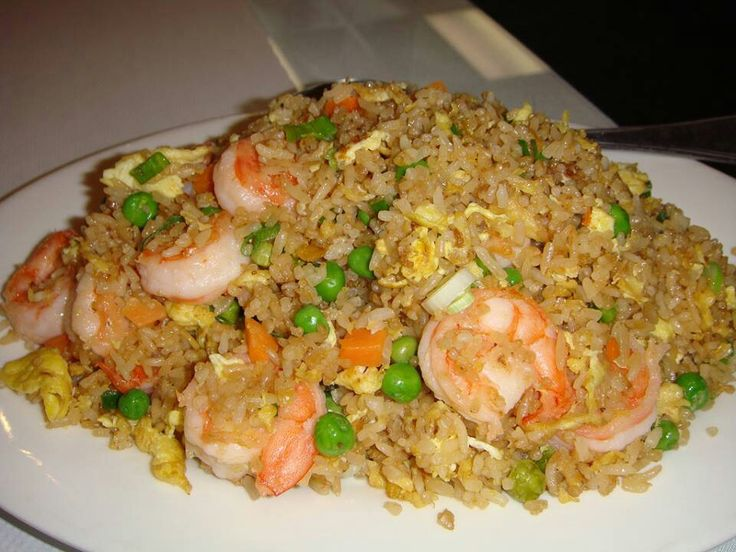 Better then take out fried rice. 4cups rice prepared; 1/2lb of shrimp, chicken or pork cooked; 1 cup frozen peas & carrots; 2 cloves garlic minced; 2 eggs; 3 tbsp sesame oil; 1/4 cup soy sauce; 1white onion: Directions heat a large pan with oil, garlic, onion and peas until soft, scramble eggs with veggies add protein(just 1of your choice) then add rice and soy sauce. Serves 5-6