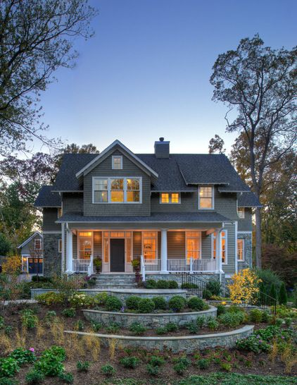 traditional exterior by Moore Architects, PC I like the stone and the  tiered-landscaping
