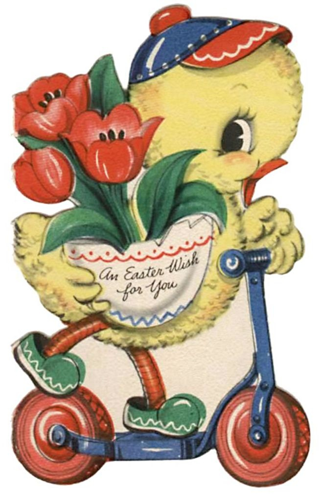 vintage easter card - cute duck riding scooter