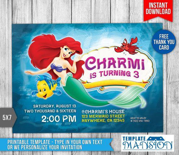 free little mermaid birthday invitation templates