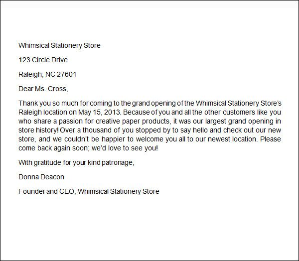Thank You Letter To Client For Giving Business | template