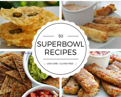 Superbowl recipes don't have to be unhealthy. Here is a collection of low carb and gluten free recipes for you to enjoy during the game.