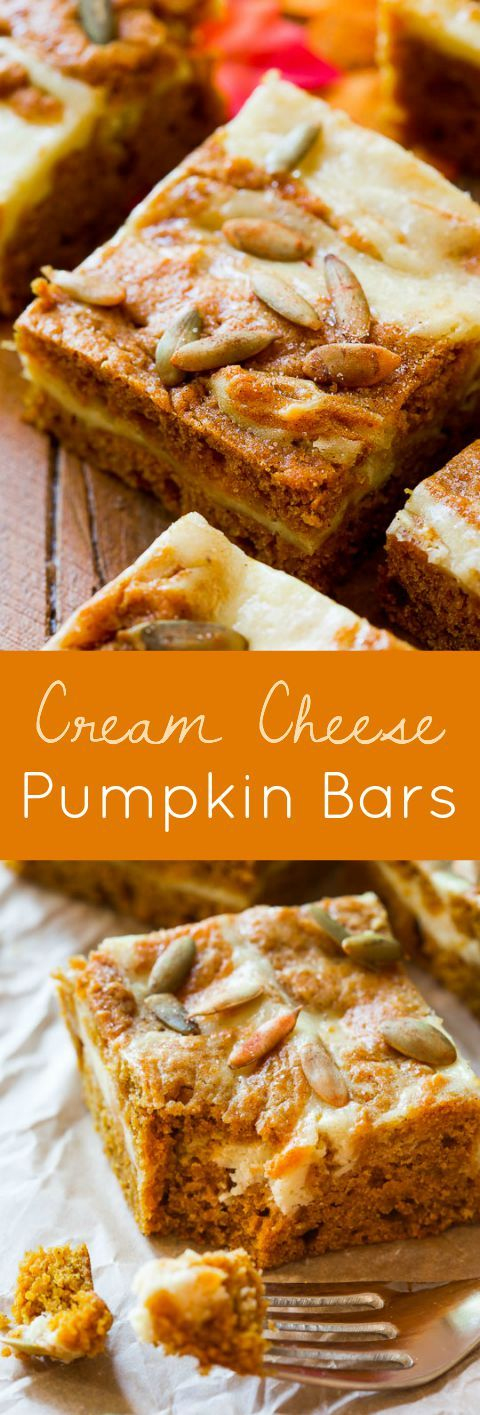 Does it get any better than this? Soft pumpkin bars swirled with cream cheese-- and they're so easy!