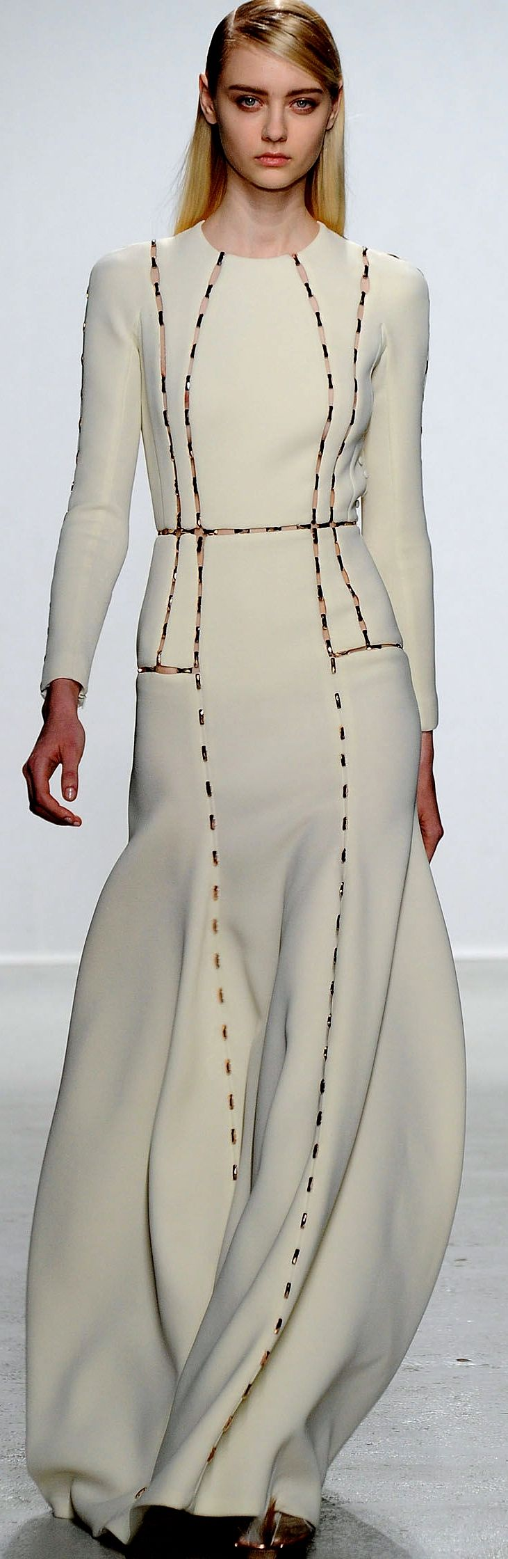John Galliano FW RTW 2014 2015 white dress with visible decorative stitches dotted lines, looks like pattern pieces or paper drawing