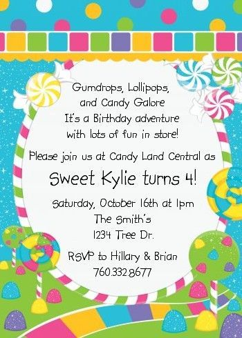 Candy Land - Birthday Party Invitations Before she's six Stella will have a Candy Land party!!