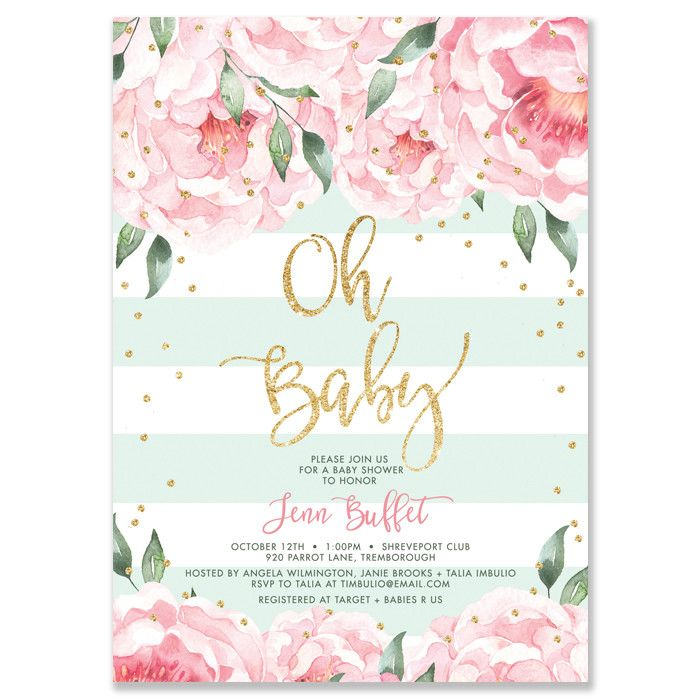 Modern mint stripes, pink peonies and gold glitter sparkle baby shower invitation with gold glitter confetti and gold brush script. Choose from ready made printed invitations or printable bridal shower invitations. Matching envelope liners and coordinating envelopes also available, at digibuddhashop.com