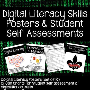 This set of 10 Digital Literacy Posters contain simple design and graphics so you can display a definition of digital literacy as well as 9 key digital literacy skills needed by students. Basic Computer Operations Word Processing Spreadsheets Presentations & Multimedia Tools Mathematical Applications Acceptable Use and Online Safety Plagiarism Research and Information Gathering Communication and Collaboration