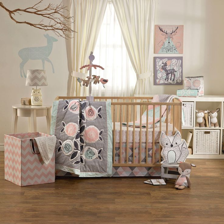 The Sparrow 4-piece crib set by Lolli Living features whimsical birds and eclectic prints that coordinate perfectly with mix n' match bedding. Made with 100% cotton. Set includes: quilt, 2 fitted sheets & bed skirt.