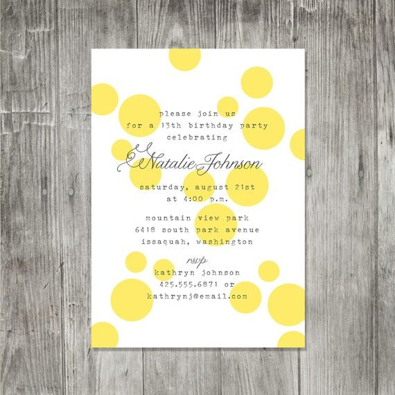 yellow polka dot invitation