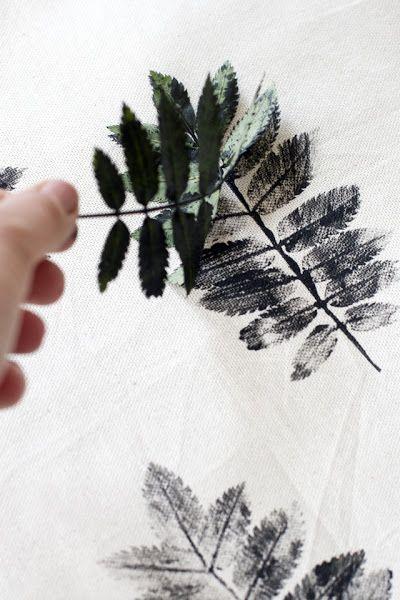 DIY: Cojines estampados con hojas