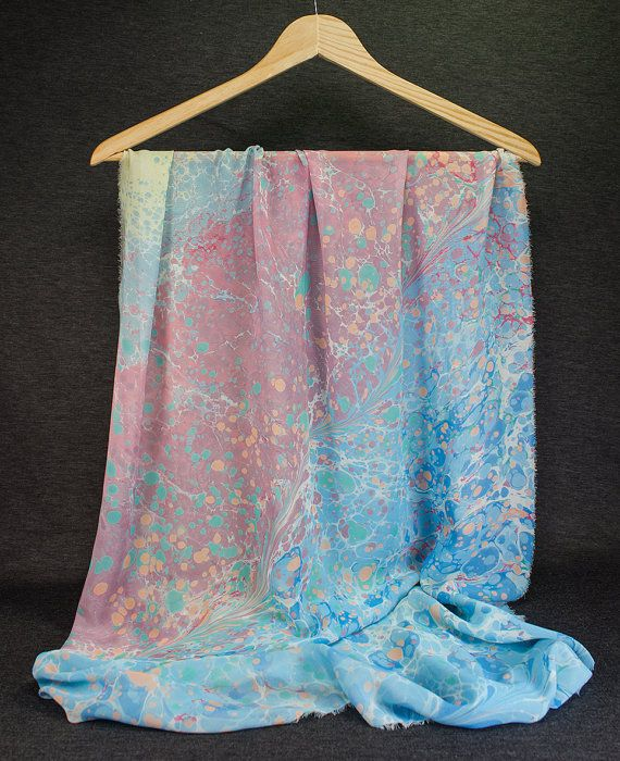Hand Marbled  Marble Scarf  springl  summer  winter  by detcraft