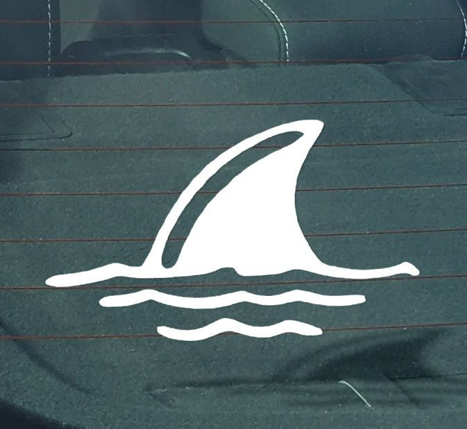 Shark Fin Decal Sticker | 6-Inches By-3.5 Inches | Premium Quality White Vinyl