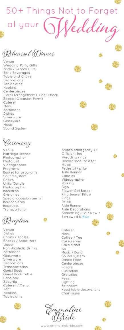 50+ Things Not to Forget at Your Wedding (CHECKLIST) the ultimate wedding day checklist printable containing 50+ Things Not to Forget at Your Wedding....