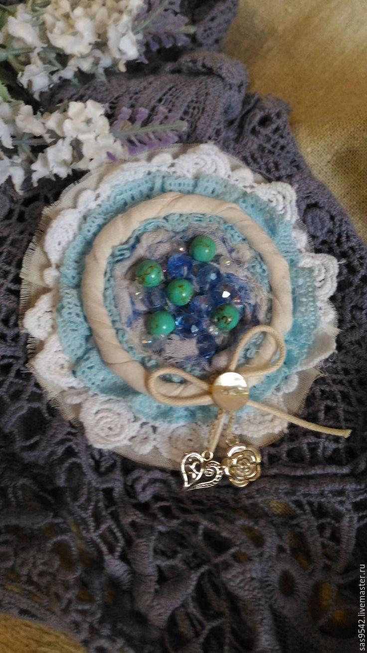 Купить Текстильная брошь «Благородная бирюза» - бирюзовый, текстильная брошь, брошь ручной работы