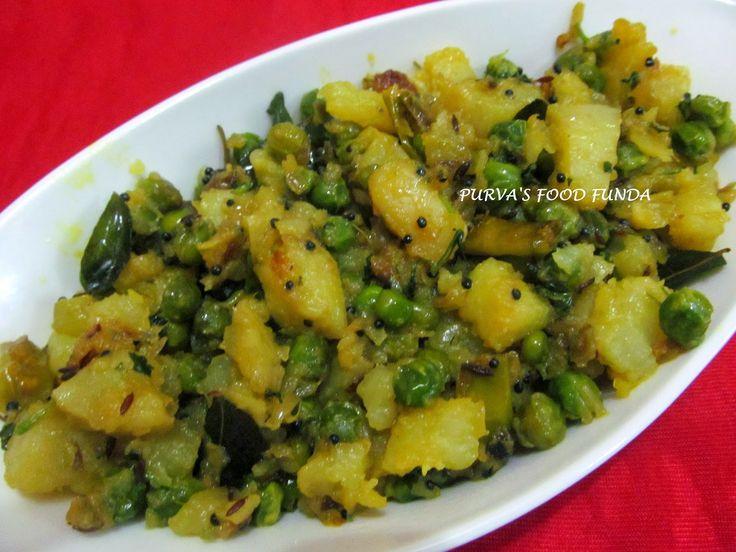 Food Funda: Matar-Batata Suki Bhaji ~Green Peas & Potato Dry Curry