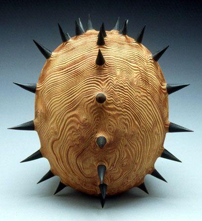 Ben Carpenter - wooden sculpture with black spikes