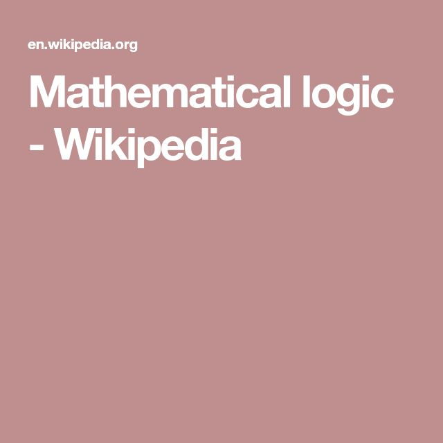 Mathematical logic - Wikipedia