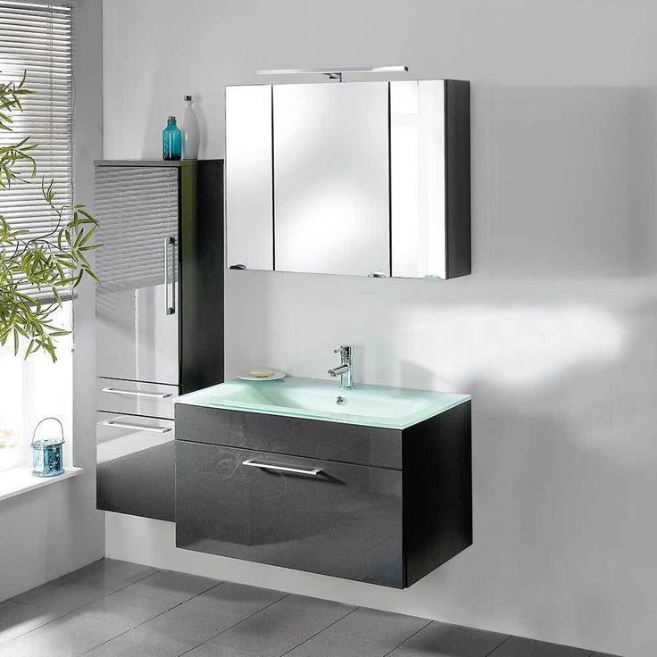 Badezimmermöbel Set In Anthrazit Hochglanz Mit Waschtisch (3 Teilig) Jetzt  Bestellen Unter: