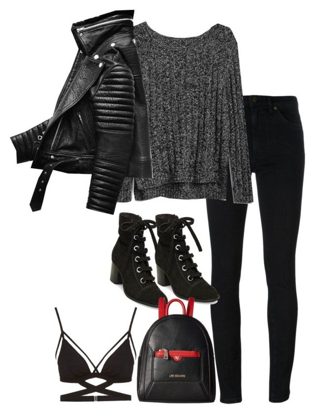 """""""Bez naslova #1207"""" by nely01 ❤ liked on Polyvore featuring Yves Saint Laurent, Gap, Steve Madden and Love Moschino"""