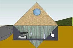 Vista de una piramicasa con garaje y su antipirámide