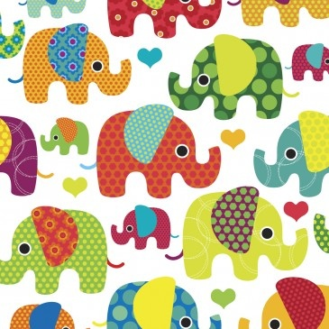 40x40cm Canvas Print - Bright Elephants