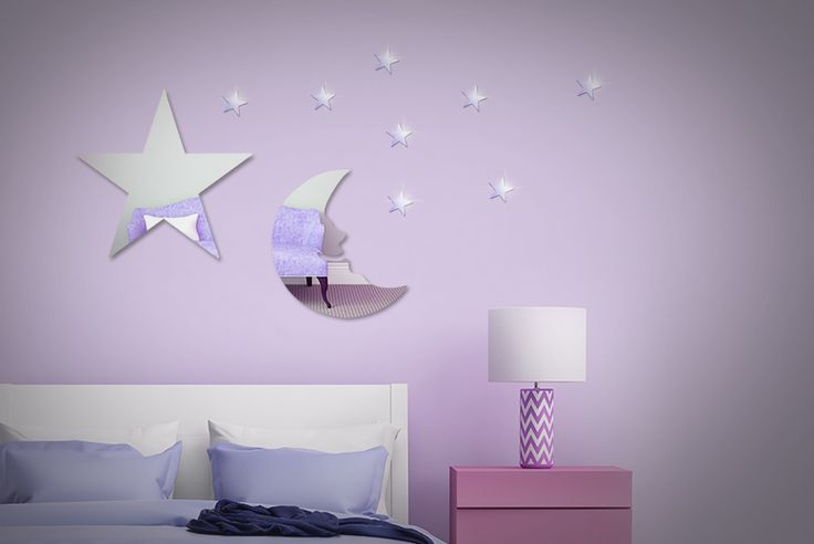 Lovely adhesive moon and stars mirrors