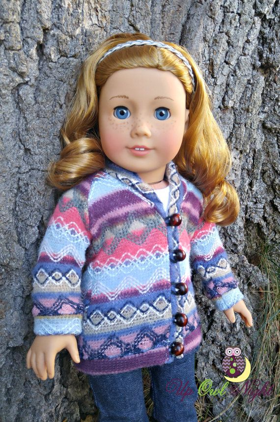 Cozy sweater by upowlnightcrafting on Etsy. Made from the Old School Grandpa Sweater pattern. Get it here http://www.pixiefaire.com/products/old-school-grandpa-sweater-18-doll-clothes. #pixiefaire #oldschoolgrandpasweater