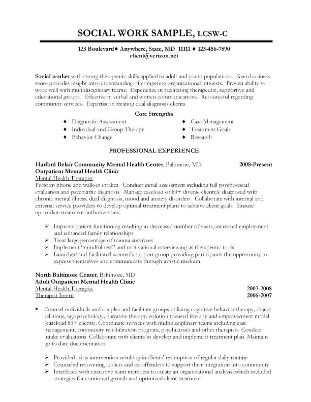 Social Work | Job resume samples, Resume skills, Resume examples