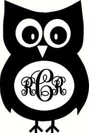 Monogrammed owl vinyl car decal by mtcvinyl on Etsy https://www.etsy.com/listing/163547703/monogrammed-owl-vinyl-car-decal