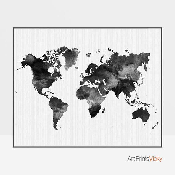 Weltkarte Poster Weltkarte Kunst Aquarell Druck Weltkarte
