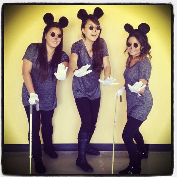 Pin for Later: 47 Last-Minute Costume Ideas That Are Completely Office Appropriate 3 Blind Mice What You'll Need: Another fun one to try with your colleagues. Grab some mouse ears, sunglasses, canes, and white gloves and go as three blind mice.