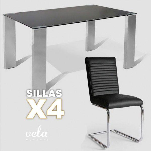 Conjunto  de mesa para comedor con cristal negro de diseño actual y sillas decoradas con costuras horizontales.