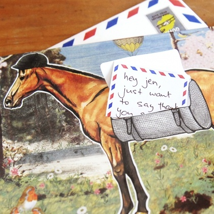 Pack your message tight in the leather satchel of the Pony Express and send it galloping.