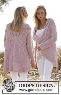 e3b0ff278 Knitted DROPS jacket worked in a circle with lace pattern in