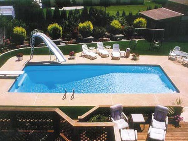 small inground swimming pool designs pool by viking fiberglass pools 600x452 fiberglass - Inground Pool Patio Designs