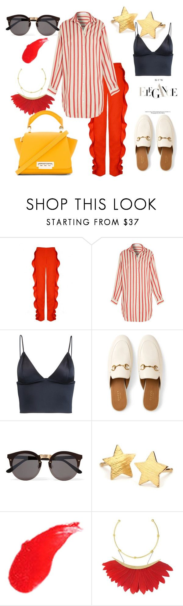 """New Elegance #2"" by mary-en ❤ liked on Polyvore featuring Christopher Esber, T By Alexander Wang, Gucci, Illesteva, Pernille Corydon, Yves Saint Laurent, ZAC Zac Posen and summerinthecity"
