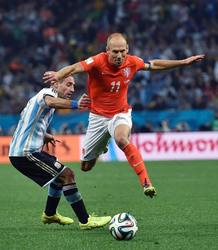 Arjen Robben of Netherlands against Argentina in the 2014 World Cup