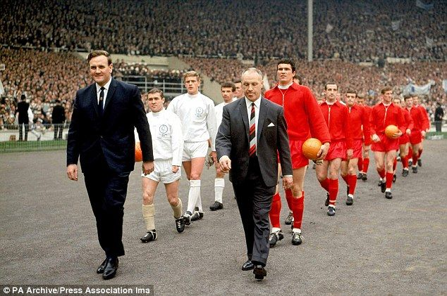Wembley way: Revie (left) and Bill Shankly lead out Leeds and Liverpool in the 1965 FA Cup final
