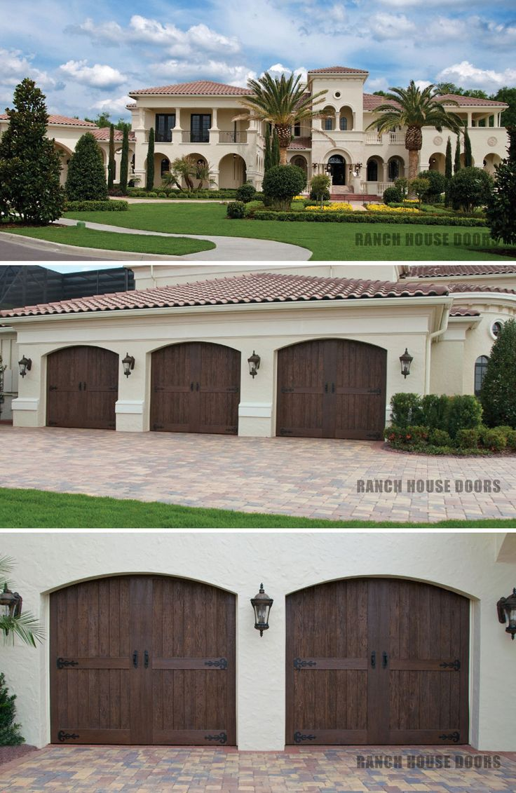 Faux Wood Garage Doors With Pecky Cypress Cladding And