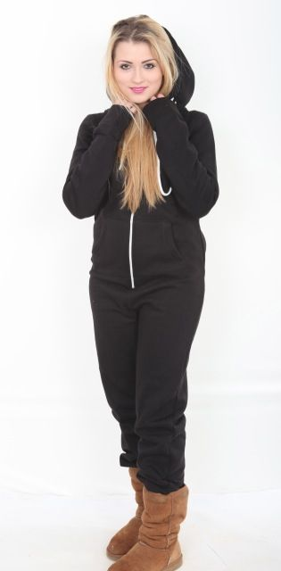 A black hooded adult onesie suitable for both men and women Smaller sizes also perfect for school teams and teens This black onesie is cotton mix 50