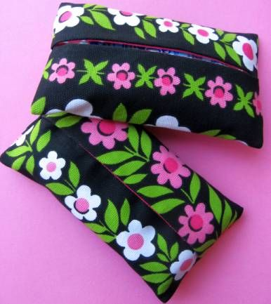 Simple sewing project to make a fabric cover for travel tissues.
